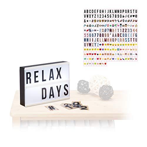 Relaxdays 2 TLG. Light Box Set, LED Leuchtkasten mit 300 Buchstaben & Symbolen, Leuchtbox, HxBxT: 15 x 21 x 4 cm, weiß/schwarz