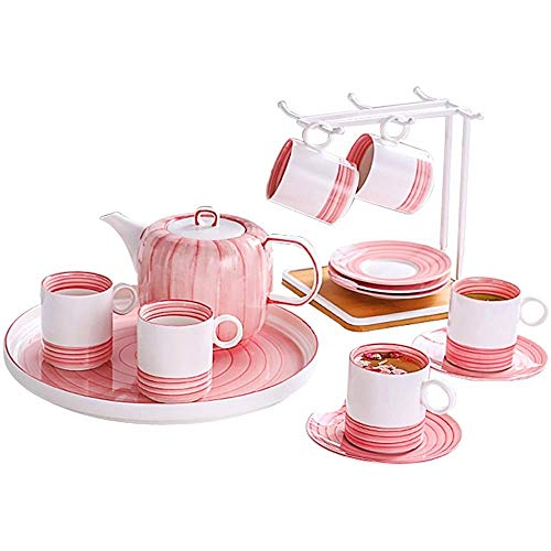 Porseleinen theeservies koffie Set, Theepot Sugar Bowl Cream Pitcher theelepels en theezeefje - for Thanksgiving, Royal Series, Pink Set
