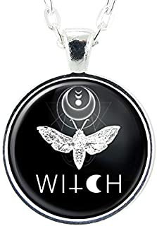 Moth Insect Witch Handmade Art Pendant, Black And White Charm On Necklace Chain