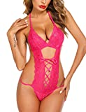 Avidlove Women Deep V Halter Lingerie Teddy One Piece Babydoll Lace Up Mini Bodysuit (Large, Rose Red)