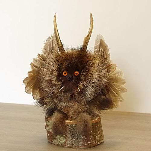 kleines Wolpertinger Wolpi Präparat Taxidermy mit orangen Augen, kleine Flügel und REH Geweih Horn #86.2.51