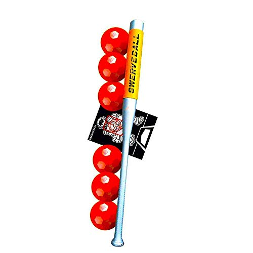 Swerve Ball Plastic Baseball Combo Starter Set Including 6, Strike Zone, Sweet Spot Bat Sleeve, and Pitching Guide