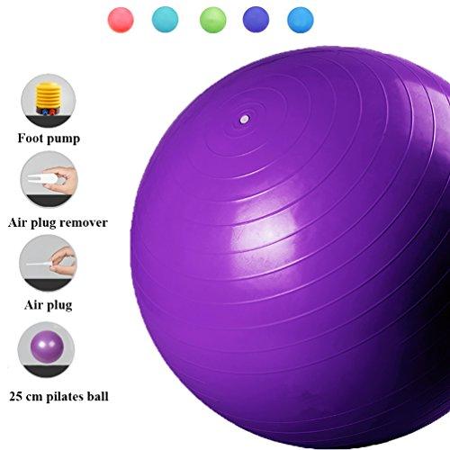 APig Balón de Ejercicio Anti-explosión Pelota de Ejercicio para Fitnes Bola Suiza de Equilibrio Gym Ball para Fitness, Yoga, Pilates- Regala 25cm Pelotas Pilates