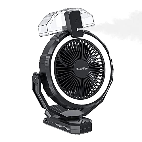 10000mAh Portable Misting Fan with Clip, 8-Inch Battery Operated Camping Fan with LED Lights, Powerful Wind, 2 Mist Modes with 400ml Tank, Sleep Timer, for Home, Golf Cart, Office, Tent, Outdoors