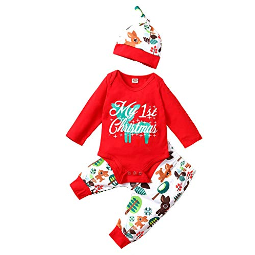 My First Christmas Costumes Baby Xmas Clothes Elk Reindeer Christmas Tree Santa Print Catroon Christmas Red 3Pcs Long Sleeve Outfits Set Pomper Tops Pants with Beanie Hat Xmas Toddler Costume
