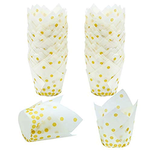 Resinta 150 Pieces Tulip Baking Cups Cupcake or Muffin Liners for Birthday Party Wedding Decoration,White With Gold Dots