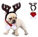 Kungfu Mall Traje de Navidad para perro pequeño disfraz de cornamenta de reno de Navidad sombrero y bufanda traje de Navidad rojo para mascotas