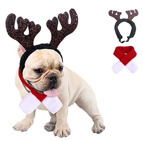 Kungfu Mall Dog Christmas Outfit Small Dog Costume Christmas Reindeer Antlers Hat & Scarf Xmas Red Costume Suit Pet Christmas Costume