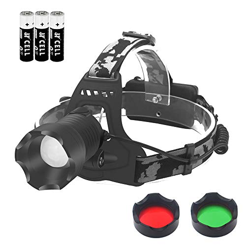 Tactical LED Headlamp Flashlight Waterproof Zoomable Headlight 3 Colors Exchange Red Green White Lens for Hunting Camping Fishing
