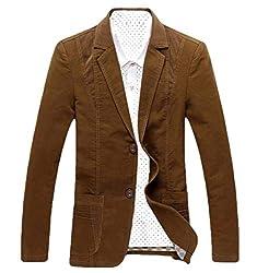 chenshijiu Men Jacket Casual Cotton 2 Button Long Sleeve Cotton Casual Blazer