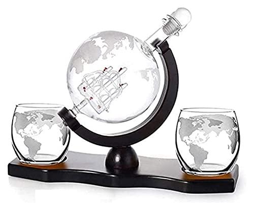 KDHSD Decantadores Decantador de Whisky Whisky Gafas de Vidrio Decantador de Vidrio con Gafas de Whisky Soporte de Madera Accesorios de Embudo para el hogar Decoración de Barra de Comedor
