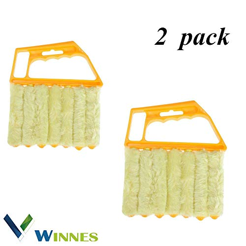 Winnes 2 Stück Jalousienreiniger Jalousien Reinigungsbürste 7 Lamellen Mini Hand Held Mikrofaser Jalousie Bürste Waschbar Für die Reinigung von Vorhängen/Klimaanlagen
