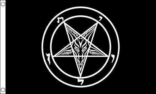 5ft x 3ft (150 x 90 cm) Baphomet Church Of Satan Black 100% Polyester Material Flag Banner Ideal For Pub Club Party Decoration by UKFlagShop