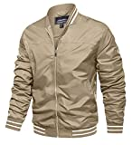TACVASEN Cycling Jackets for Men Lightweight Casual Spring Fall Jackets Stripes Khaki, L