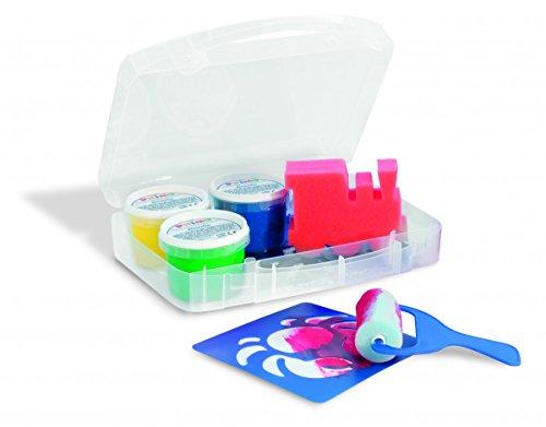 Morocolor Fingermalfarbe in Kunststoffdosen, 4 Farben x 100 g. Mehrzweckkoffer, 6 Schablonen, 1 Schwammrolle, 1 Jumbo PINSEL, 1 Kunststoffunterlage