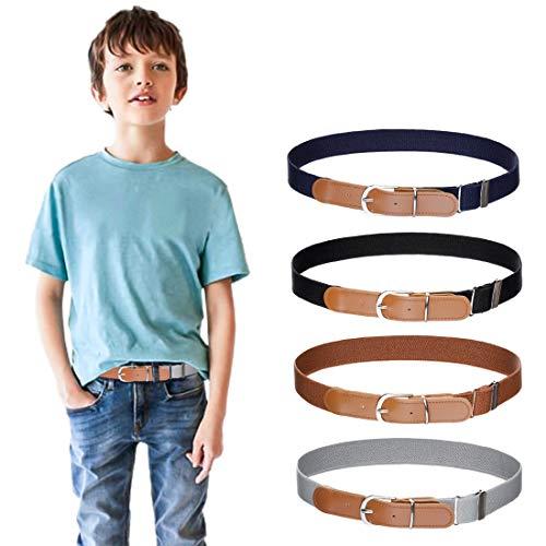 "Kids Boys Girls Elastic Belt - Stretch Adjustable Belt for Boys and Girls with Leather Loop Belt Pack of 4 By Kajeer (Navy Blue/Gray/Black/Brown, Pant Size 19""-27"")"
