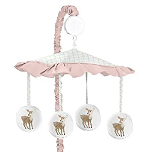 Sweet Jojo Designs Blush Pink, Mint Green and White Boho Musical Baby Crib Mobile for Woodland Deer Floral Collection