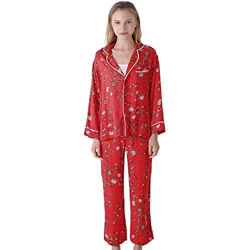 NOSSON Winter-Strick-Pyjama-Set für Damen, langärmelig, V-Ausschnitt, lässig,...