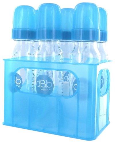 dBb Remond 177369 - Scatola portabiberon per 6 biberon in vetro con tettarella in silicone, sistema rotondo, 240 ml, colore turchese semitrasparente