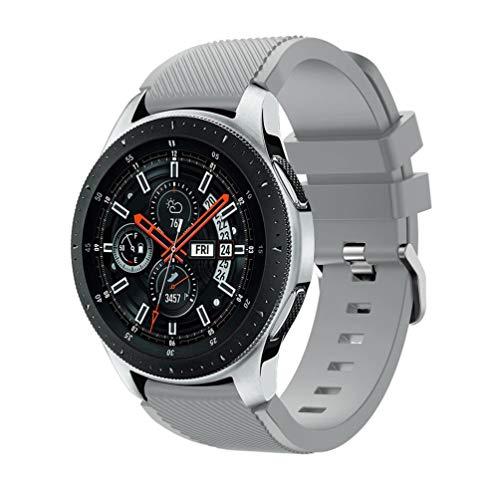 Samsung Galaxy Watch 46mmバンド Comtax 22mm シリコン製 交換用バンド Samsung Galaxy Watch 46mm バンド (グレー)