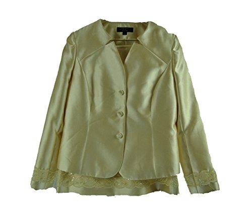Tahari Women's Lace Trim Palm Beachy Skirt Suit 10, Buttercup Yellow