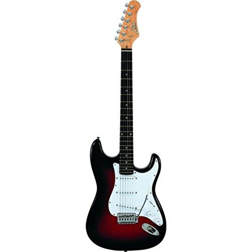 Eko S-300 Sunburst - Chitarra Elettrica Stratocaster a 22 Tasti, colore Nero-Rosso