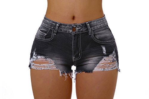 Ermonn Women's Casual high Waisted Distressed Ripped Stretch Denim Shorts Jeans (XL, Black)