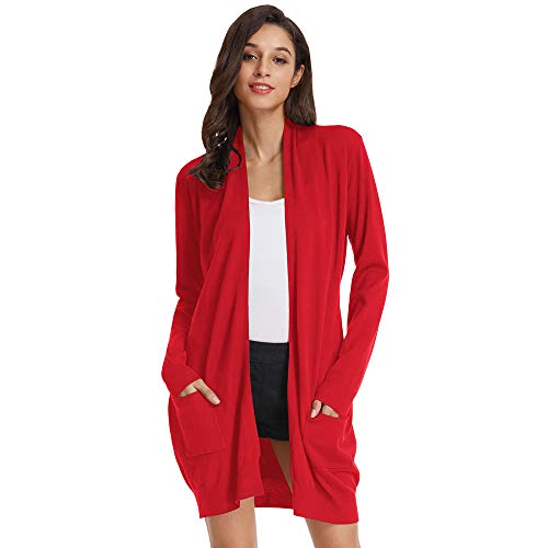 GRACE KARIN Damen Strickjacke Langarm Lang Sweater High Stretchy Casual Cardigan Knitwear mit Taschen XL Rot CLAF1003-6