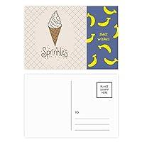 カラフルな針の甘いチョコレートのアイスクリーム バナナのポストカードセットサンクスカード郵送側20個