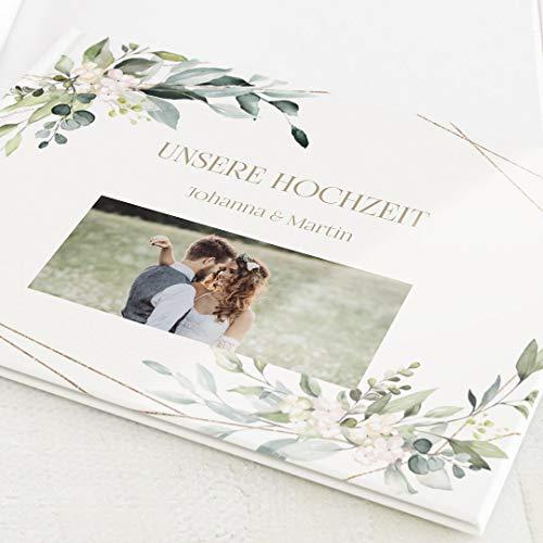 Fotobuch zum Eintragen, personalisiert mit Ihrem Wunschtext und - bild, Greenery & Gold, leere weiße Innenseiten zum Fotos einkleben, Hardcover-Buch quadratisch, 32 Seiten oder mehr - Botanik
