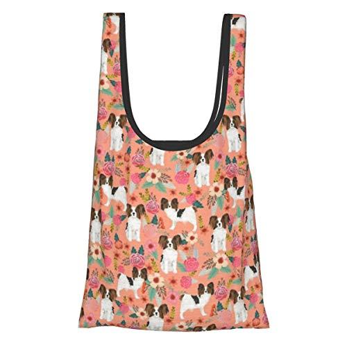Faltbare wiederverwendbare Einkaufstasche, Einkaufstasche, umweltfreundlich, wasserabweisend, leicht, robust, Papillon, Pfirsichmotiv, niedliche Hunde