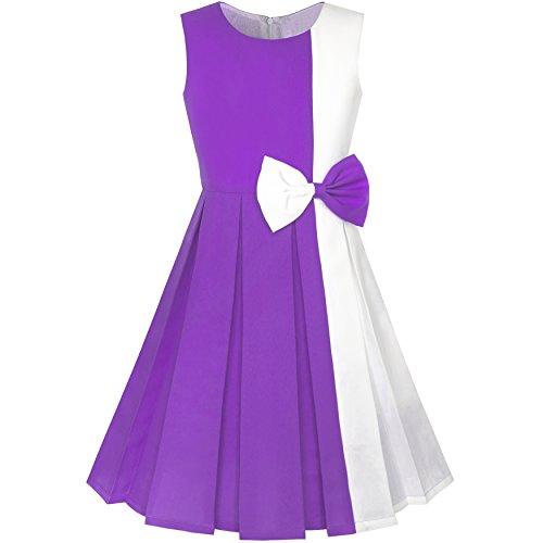 Sunny Fashion LA98 Girls Dress Color Block Contrast Bow Tie Purple White Party Size 14
