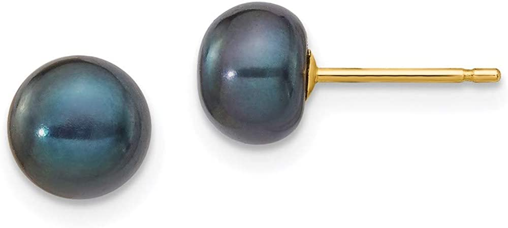 14k Yellow Gold 7mm Black Button Freshwater Cultured Pearl Stud Post Earrings Ball Fine Jewelry For Women Gifts For Her