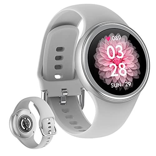 HQPCAHL Smartwatch Mujer, Reloj Inteligente Impermeable IP68, Pulsera de Actividad Inteligente con Monitor de Sueño Pulsómetro Podómetro Contador de Caloría para Android iOS,Gris