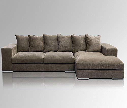 Amaris Elements   'Moore' Ecksofa inkl. 6 Kissen, Länge: 2.95m   Samt braun Couch Garnitur   Samtsofa Wohnlandschaft