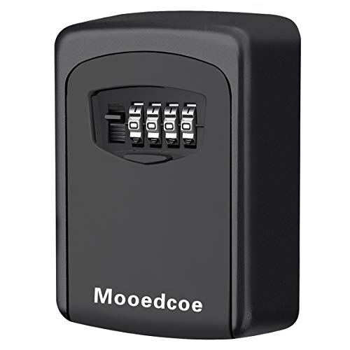 Mooedcoe Caja Fuerte Llaves Caja de Seguridad Llaves con 4 Numeros de Códigos para Guardar las Llaves en Pared o Mirilla