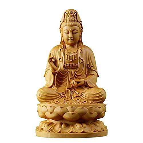 Estatua de Buda Bodhisattva Guanyin chino, Escultura de madera de boj Kwan-yin Guanyin, Estatuas de Buda Feng Shui Adornos de figuras, Regalo de decoración para el hogar / oficina / sala de estar (C