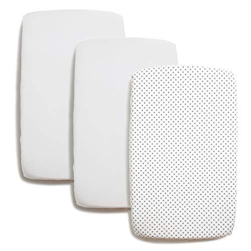 Niimo Spannbettlaken für Chicco Next2Me Bettlaken Bezug Set 2 Stuck 100% Baumwolle + 1 Wasserfester Matratzenschoner Abmessungen 80x53 (Weiß-Grau Punkte)