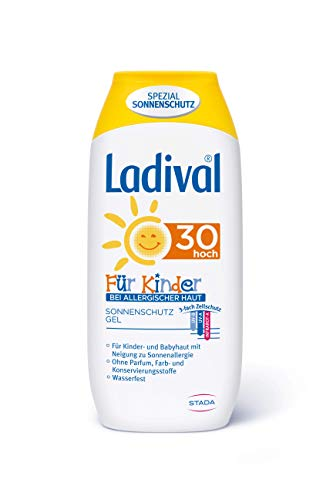 Ladival Kinder bei Allergischer Haut Sonnenschutz Gel LSF 30 – geeignet bei Sonnenallergie – Parfümfrei, ohne Farb- und Konservierungsstoffe – wasserfest – 1 x 200 ml