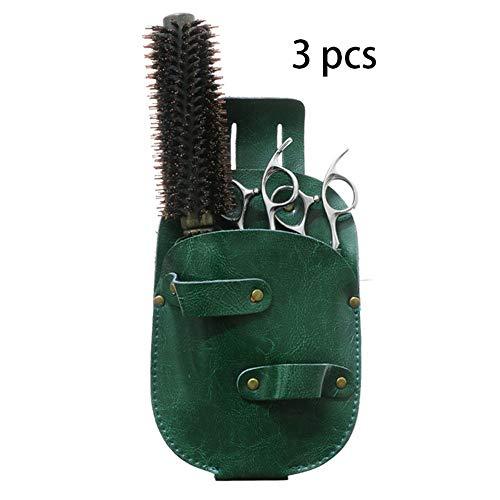 Yhjkvl Coiffure Ceinture Sac 3 pièces Sac en Cuir Ciseaux Salon Portable Outils de Cheveux Sac Barber Ciseaux Pouch Cheveux Ciseaux Organisateur, Vert Coiffure Holster Pouch Holder