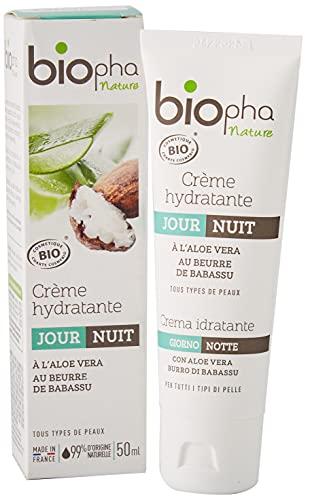 Biopha Nature – Crème hydratante jour & nuit certifiée biologique – Aloe vera & beurre de babassu – Hydrate et nourrit tous types de peaux – Tube de 50ml