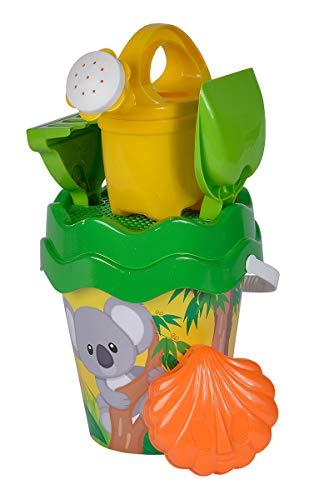 Simba 107114510 - Koala Eimergarnitur, 6 Teile, Eimer, Sieb, Sandform, Schaufel, Rechen, Gießkanne, Höhe 16cm, Durchmesser 17cm, Sandkasten, Sandspielzeug