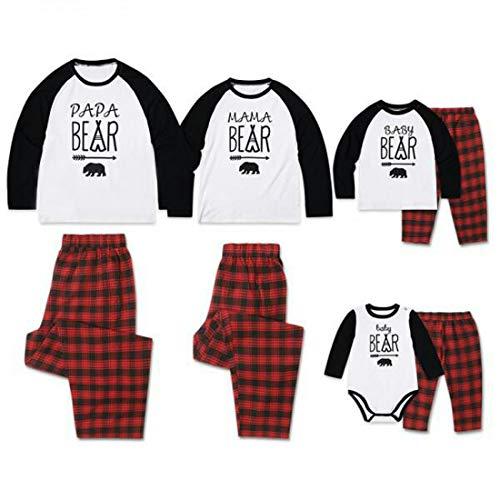 Zhhlinyuan Conjunto de Pijamas Iguales de Familiar Navideño Algodón Manga Larga Camiseta Papa MAMÁ Baby Estampada y Pantalón a Cuadros Rojo para papá Mamá Niño Bebé