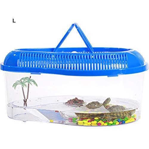 Sarplle Reptilien Transportbox Schildkröte Faunarium Schildkröte Schutzkorb mit Trockenplattform und Belüftungsöffnungen für Reptilien, Amphibien, Mäuse Insekten