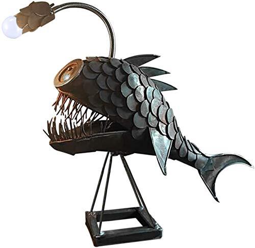 Angler Fish Lamp Art Lamp, Creative Night Light Bedroom Lighting Handmade Adjustable USB LED Light Desktop Decor Lamp…