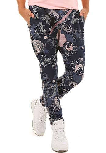 Dykmod Dykmod Mädchen Baggy Hose Skate Chino Zip Muster hk289 Dunkelblau Blumen 158