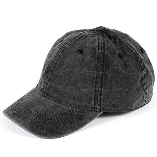 Baseball Cap for Men Women Vintage Washed Distressed Baseball Hat Unisex Sports Cap Black