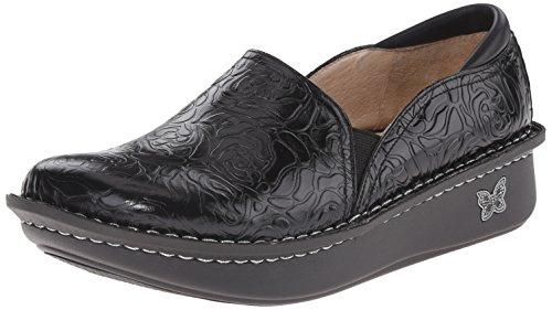 Alegria Debra Womens Shoes Black Embossed Rose 8 W US
