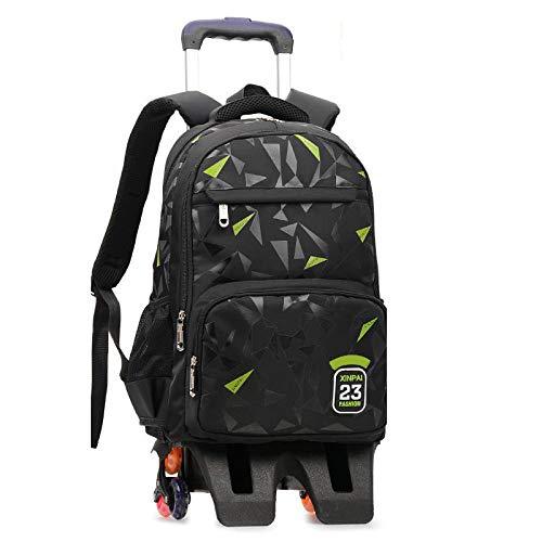 ZZLHHD Children's Wheeled Backpack,Large capacity tie rod bag, reduce shoulder backpack-Black C_High foot,Wheels School Bag Boys