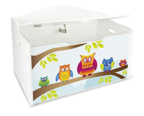 Leomark Caja de Madera XL Banco Blanco con Almacenamiento para Juguetes, Accesorios Baúl de Juguetes Tema: Búhos, Dim: 68 x 42 x 46 (alto) cm
